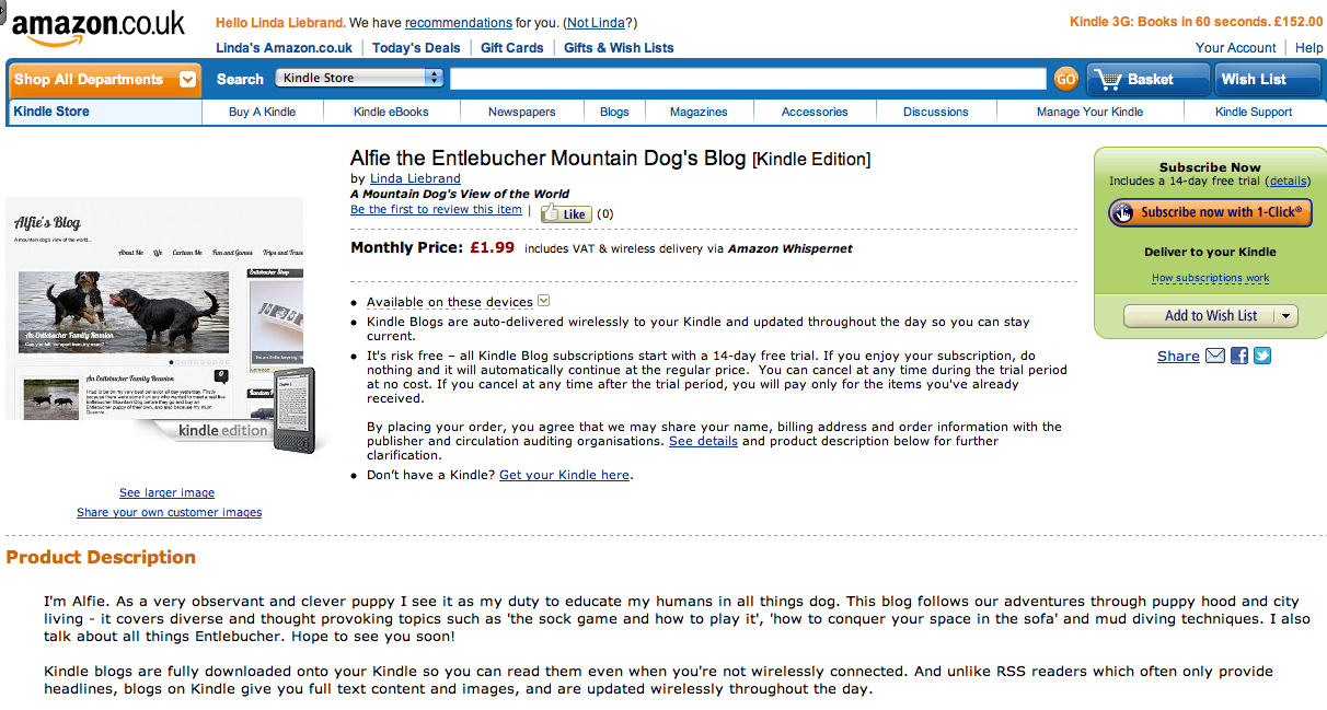 Alfie the Entlebucher Mountain Dog on Kindle