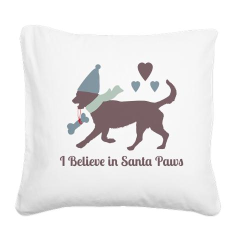 i_believe_in_santa_paws_square_canvas_pillow