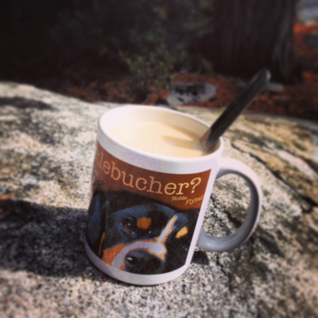 A must have accessory for all mountain dog humans when breakfasting in the mountains