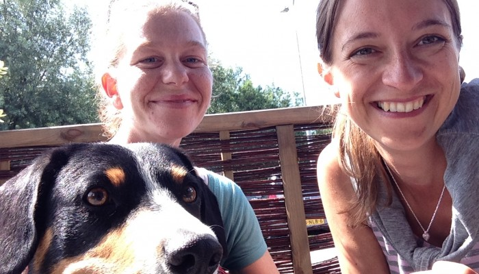 My sister Bella took a selfie with her human and mine